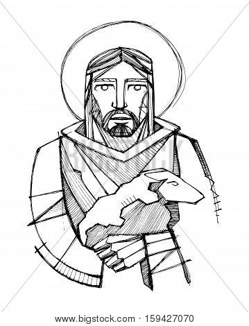 Hand drawn vector illustration or drawing of Jesus Christ as Good Shepherd carrying a sheep