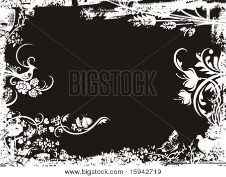 Grunge vector background series with floral details.