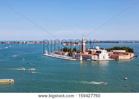 aerial view of San Giorgio island Venice Italy