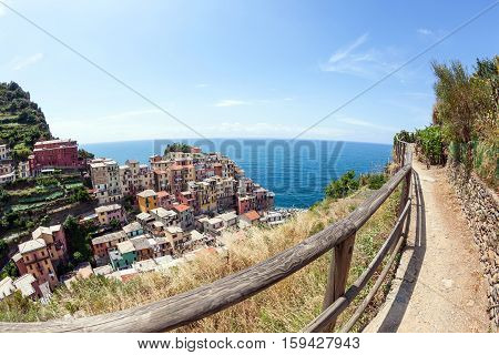 colorful houses on a rock near the sea in Manarola Cinque Terre Italy
