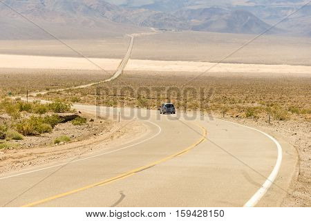the road through the Death valley, USA