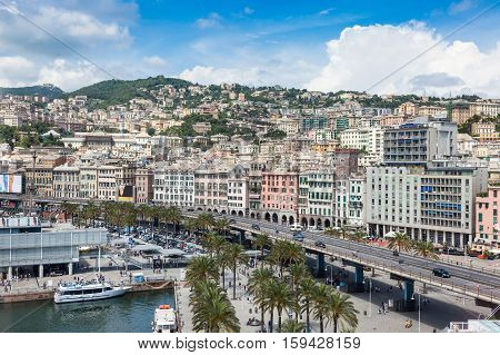 top view of the city Genoa Italy