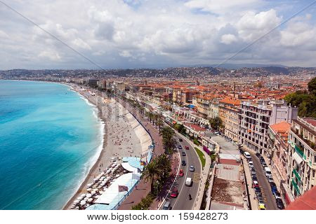 view of the coastline of Mediterranean sea bay of Angels Nice France