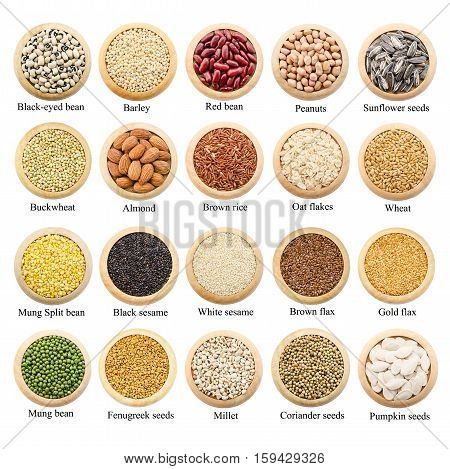 Dried grains peas and rice collection with titles isolated over white background.