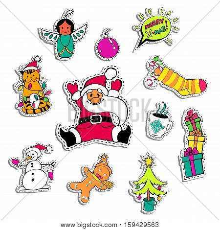 Christmas patch badges with Santa Claus, snowman, gift box, angel, tree and other. Set of stickers, pins, patches in cartoon 80s-90s comic style for sale banner, shop, online shopping. Vector format