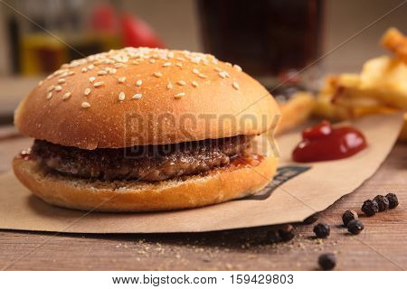 Classic Hamburger With Ingredients