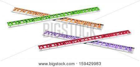Plastic Colored Rulers on Isolated White Background