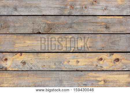 Wood plank floor painted sepia pastel. Brown top table old wooden texture background. house wall. Gray desk pattern top view. Stage white hardwood weathered. Dirty floor.