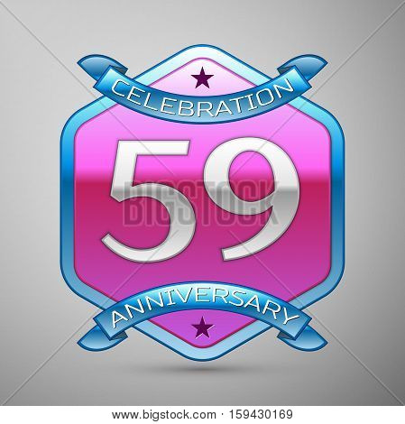 Fifty nine years anniversary celebration silver logo with blue ribbon and purple hexagonal ornament on grey background.