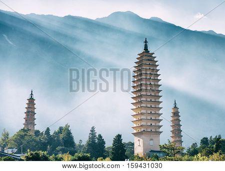 The Three Pagodas Of Chongsheng Temple, Dali, China. Toned Image