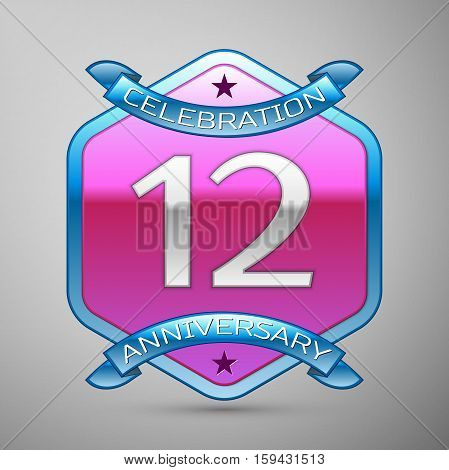 Twelve years anniversary celebration silver logo with blue ribbon and purple hexagonal ornament on grey background.