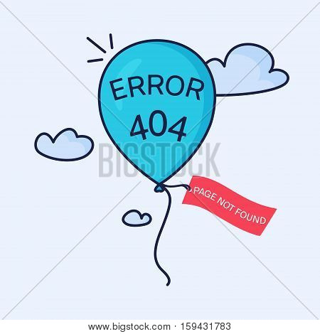 Page not found. 404 error page creative design made in linear style. Blue balloon with a tag flying in the sky. Web site design template. Isolated vector illustration.