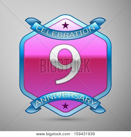 Nine years anniversary celebration silver logo with blue ribbon and purple hexagonal ornament on grey background.