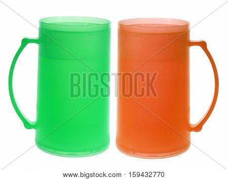 Plastic Tall Cups on Isolated White Background