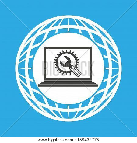 globe computer tool gear communication vector illustration eps 10