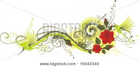 Abstract floral design with red roses and humming birds, vector illustration series.