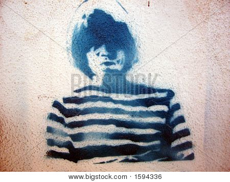 Grafitti Stencil Man Stripped Shirt