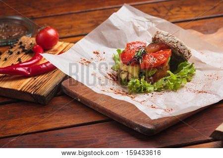 Vegetable Salad Served On Paper