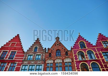 Beautiful medieval buildings on Grote Markt square in Brugge Belgium