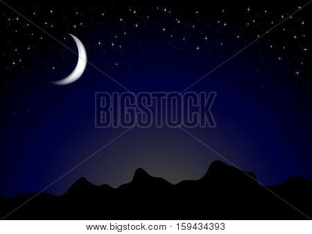 Dark moonlight night background. Mountains landscape design