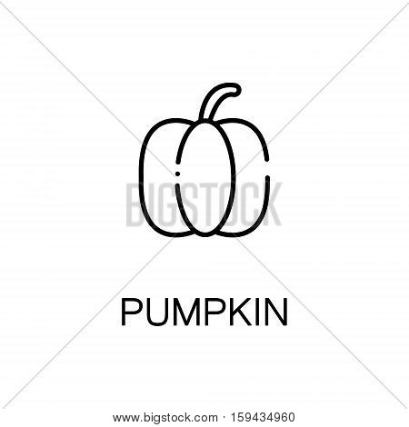Pumpkin flat icon. Single high quality outline symbol of autumn for web design or mobile app. Thin line signs of pumpkin for design logo, visit card, etc. Outline pictogram of pumpkin
