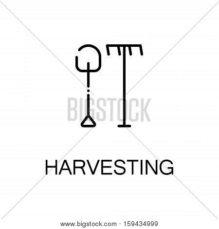 Harvesting flat icon. Single high quality outline symbol of autumn for web design or mobile app. Thin line signs of garden tools for design logo, visit card, etc. Outline pictogram of shovel