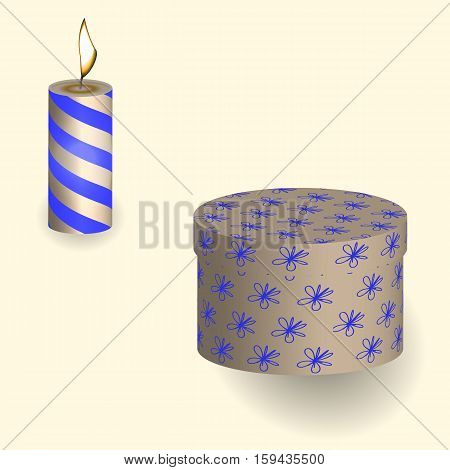 Stock vector illustration of a gift in the box and and burning candle pattern