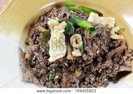 Spicy Fried Minced Pork Salad, Thai Spicy Liver Salad, Northen Thai Food