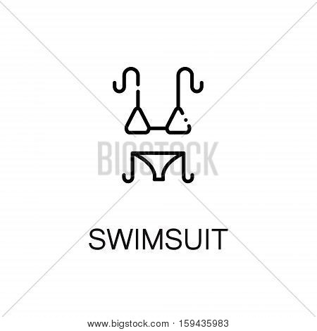Swimsuit flat icon. Single high quality outline symbol of summer for web design or mobile app. Thin line signs of swimsuit for design logo, visit card, etc. Outline pictogram of swimsuit