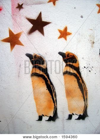 Grafitti Stencil Penguins And Stars