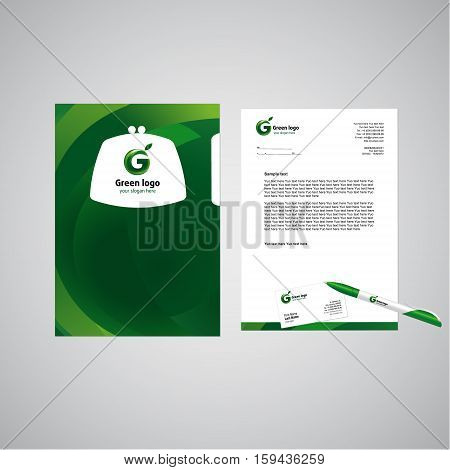 Template of corporative style concept. Company brandbook elements in green design. Vector set of business or office objects with branding.