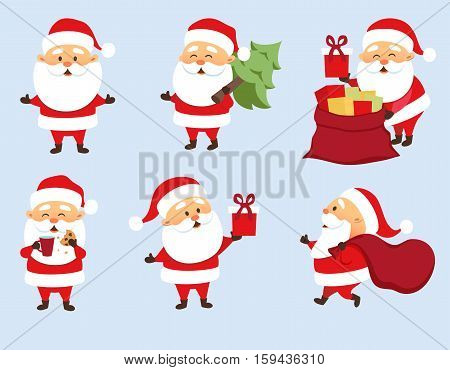 Santa Claus Christmas set. Santa Claus run with bag, give gift box, hold Christmas tree. Santa Claus eat cookies and drink milk, pulls out gifts from bag . Christmas character design. Father Frost