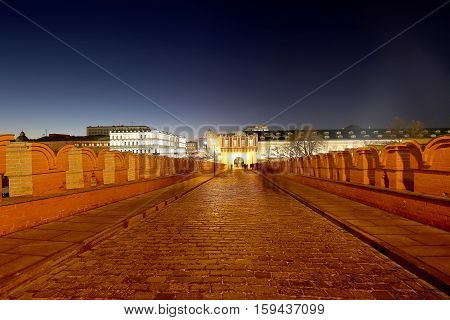 Inside Of Moscow Kremlin At Night, Russia. Unesco World Heritage Site