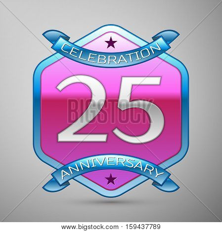 Twenty five years anniversary celebration silver logo with blue ribbon and purple hexagonal ornament on grey background.