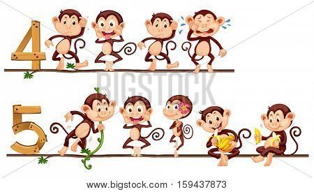 Counting number four and five with monkeys illustration