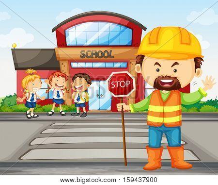 Students crossing road at zebra crossing illustration
