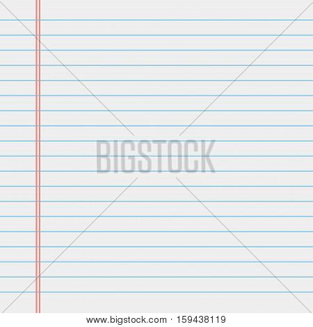 School notebook paper. White lined notebook paper. Vector illustration