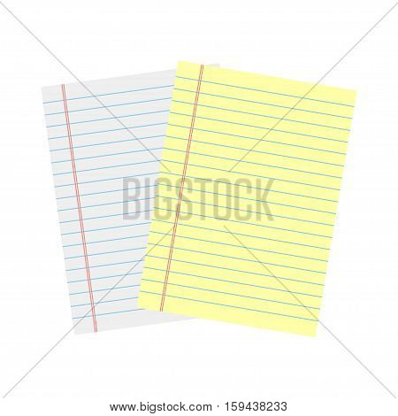 Notebook paper. Yellow and white lined paper
