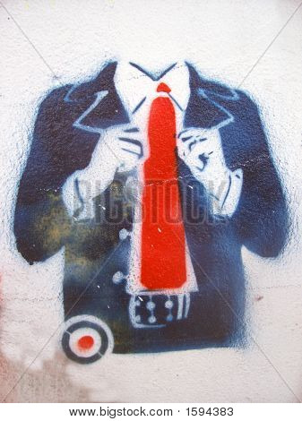 Grafitti Stencil Suit Red Tie
