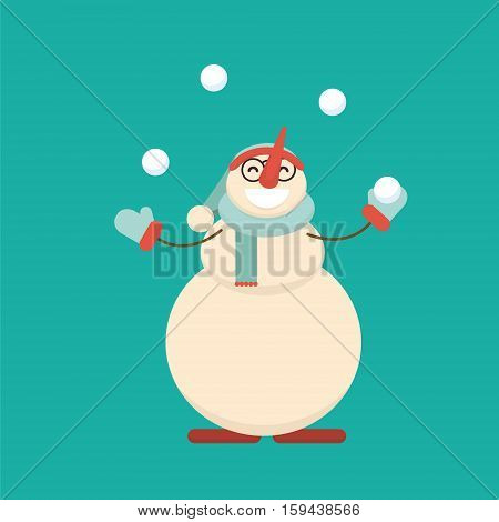 Christmas Snowman Standing With His Hands With Arms Spread To Sides And Ready For Hug. Cute Cartoon