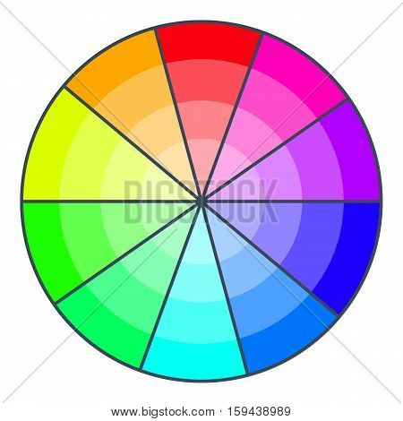 Color wheel with shades icon. Cartoon illustration of color wheel with shades vector icon for web design