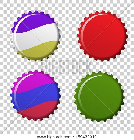 Isolated set of colorful bottle caps. vector