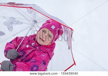 Portrait Of Happy Pretty Girl Near Christmas Tree, Winter,