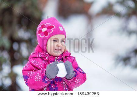 Portrait Of Happy Pretty Girl Near Tree, Winter,