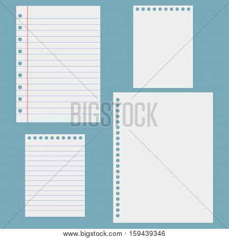 Notebook paper. Sheets of notebook. Vector illustration