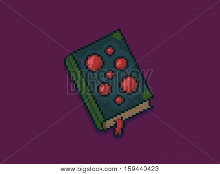 Pixel art 8-bit magic spell book isolated on violet background