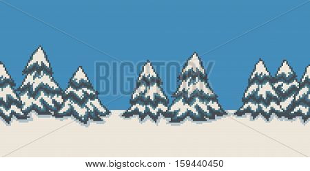 Pixel art seamless background with many spruce christmas trees in snow