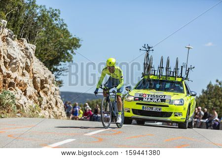 Col du Serre de TourreFrance - July 152016: The Polish cyclist Rafal Majka of Tinkoff Team riding during an individual time trial stage in Ardeche Gorges on Col du Serre de Tourre during Tour de France 2016.