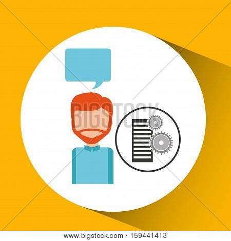 database setting character bubble speech vector illustration eps 10