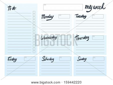 weekly planer in white blank template with blue block